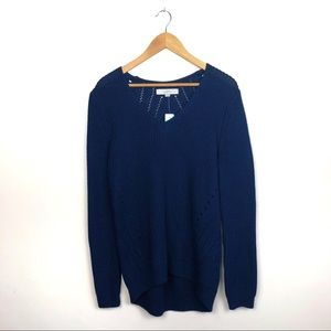 NWT Loft Navy Blue cable knit sweater size Large